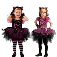 Wholesale Toddlers Leopard Costume - Cosplay masquerade Leopard Cat Costume Children Costume Girls Princess Dress Costumes Black and rose red toddler leggings striped