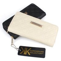 Wholesale Leather Plain Clutch Wholesale - Hot selling Fashion KK Wallet Long Design Women PU Leather Kardashian Kollection High Grade Clutch Bag Zipper Coin Purse Handbag