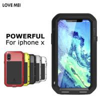 ingrosso iphone più amore mei-Love Mei per iPhone X 8 7 plus Custodia in alluminio di lusso in metallo + armatura in silicone Custodia antiurto protettiva impermeabile dropproof con vetro temperato