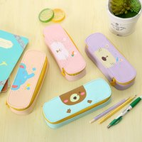 Wholesale Kids School Bags Leather - Wholesale- 1 Pcs Cute Kawaii Rabbit Cat Leather Pencil Pouch Bag Kids Office Organizer Stationary School Supplies For Girls