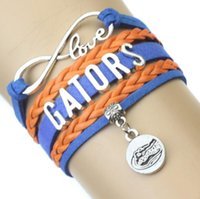 Barato Pulseira Azul Laranja-Infinity Love Gators Athletic Team Bracelet Blue Orange Cheer Charm Braided Bracelets Mulheres Men Girl Lady Jewelry Gift