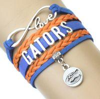 liebe infinity team armband großhandel-Unendlichkeit Liebes-Gators Athletic Team Armband Blau Orange Cheer Charm Geflochtene Armbänder Frauen Männer Mädchen Lady Schmuck Geschenk