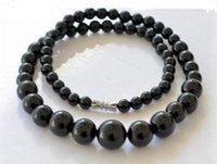 schwarze edelsteinkette großhandel-6-14mm natürliche schwarze Achat Halskette natürliche Achat Edelstein Turm Kette