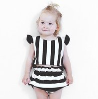 Wholesale Baby Long Sleeve Stripe Top - Baby girl clothing Set 2017 New Stripe Ruffle Sleeve Tops+Striped PP pants Shorts Summer Toddler Outfits Infant 2pcs Sets C031