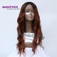 Two Tone Black Root Ombre Brown Perruque de couleur Synthétique Longueur moyenne Loose Wavy Kim Kardashian Curl African American Lace Front Wig
