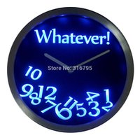 Wholesale Neon Led Wall Clock - Wholesale- nc0464 Whatever Time Bar Beer Retire Gift Decor Neon LED Wall Clock