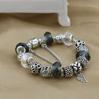 Wholesale Sterling Silver Murano Style Bracelet - 9 Colors Fashion 925 Sterling Silver Daisies Murano Glass&Crystal European Charm Beads Fits Charm bracelets Style Bracelets 20CM
