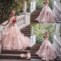 Wholesale Sweetheart Bodice Princess Skirt Dress - Blush Pink Organza Tiered Skirts 2017 Garden Wedding Dresses Sweetheart Ruffles Princess Bohemian Bridal Gowns With Beading Sash