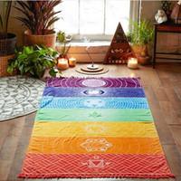 Wholesale towel hang - Wholesale- Rainbow Stripes Scarf Bohemia Wall Hanging India Mandala Blanket 7 Chakra Colored Tapestry Summer Boho Beach Towel Yoga Mat