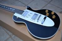Wholesale guitars corvette for sale - Group buy Custom Shop s Corvette Chevrolet Gloss Black Electric Guitar Cross Flags Headstock Chrome Hardware