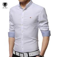 Wholesale Slim Fit Blouse - Wholesale- Summer Autumn HOT Fashion Solid Color Mans shirts Business Long Sleeve Dress Shirts Men Slim Fit Shirt Casual Shirt Male Blouse