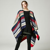 Wholesale Women s Striped Muffle Shredded Cashmere Shawl Both sides are available with long cloak