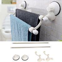 Wholesale Towel Racks For Bathrooms - Wall Mounted Double Towel Bar Rack Bath Ball Holder Hanger with Sucker for Home Bathroom Storage Organizer