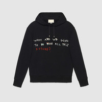 Wholesale Printed Hoodie Letters - autumn fashion runway Cotton hoody fashion designer classic what are we going letter print Brand men hoodies pullover sweatshirt sweater