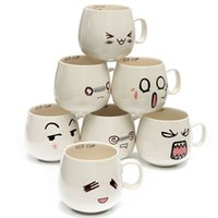 Wholesale Pottery Face - 2017 New 300ml Water Mug 7 Kinds Lovely Cute Cartoon White Pottery Ceramic Cup Cute Face Mug Tea Coffee Milk Cup Kids Gift