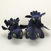 Wholesale Toothless Plush Stuffed Animal - 10pcs Lot 23cm 33cm 40cm anime How To Train Your Dragon 2 Toothless Night Fury plush toys dragon plush stuffed animals Doll Toy