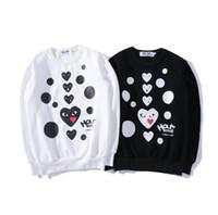 Wholesale Mens Christmas Hoodie - PLAY love heart fleece sweatshirt tide brand autumn winter unisex hoodie women casual Christmas halloween mens hoodies D5625