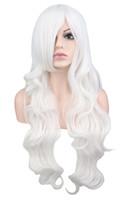 peruca branca alta qualidade venda por atacado-Mulheres Homens Longo Ondulado Anime Cosplay Peruca Traje Do Partido Branco 32