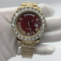 Wholesale Diamond Crystal Luxury - 2017 New President Mens Wath Day-Date 43mm Big Diamonds 18K Gold Sapphire Crystal Stainless Steel Red Dial Men Stainless Steel Watches