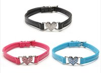 Wholesale Dog Bling Charms - Free Shipping! Wholesale PU Leather Pet Collar Neck Tie Bling Heart Charm Dog Cat Collars 3 Colors Available