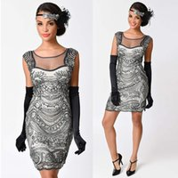 Sexy Club Mesh Kleid O Hals Perlen Sequin Art Flapper Kleid Frauen Sommer 1920er Jahre Vintage Great Gatsby Party Kleider