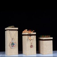 Wholesale Linen Necklace Display Wholesale - 2016 Linen Roma columns 3 Pcs Set Pedestal Necklace Finger Ring Bracelet Pendant Stand Holder Jewelry Display