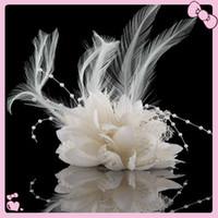 corsage para a cabeça venda por atacado-Fascinador pena por Headband grampo de cabelo Comb Flower para acessórios para o cabelo flor Casamentos Festa Corsage 50Pcs / Lot