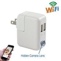 Wholesale Hidden Camera Phones - HD 1080P Wifi Camera USB Power Adapter Hidden Camera Wireless Phone Charger Spy Cam Real Wall AC Plug Suveillance Camera Security DVR