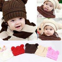 Wholesale Earflap Crochet Ball Baby Hat - Hot New Arrival Kids Baby Warm Crochet Hat Knit Two Balls Beanie Knit Sweater Cap Earflap Hat