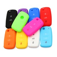 Wholesale Silicone Car Key Cover Vw - Hot silicone car key cover case shell fob for VW Golf Bora Jetta POLO GOLF Passat For Skoda Octavia A5 Fabia For SEAT Ibiza Leon