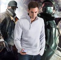 Wholesale Dogs Wool - Wholesale- Watch Dogs Aiden Pearce Sweater Cosplay Costume Men's Sweater High Quality S M L XL 2XL 3XL