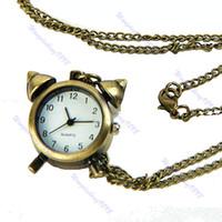 Wholesale Wholesale Vintage Alarm Clocks - Wholesale- Vintage Bronze Little Alarm Keychain Pocket Watch Clock