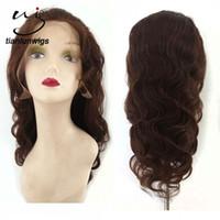 cheveux vierges achat en gros de-18 pouces # 2 couleur corps vague sally beauté offre vierge cheveux pleine dentelle perruques de cheveux humains avant de lacet perruque pour noir