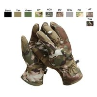 Wholesale Glove Paintball - Outdoor Sports Motocycle Cycling Gloves Paintball Airsoft Shooting Hunting Tactical Full Finger Camouflage Softshell Camo Gloves SO08-001