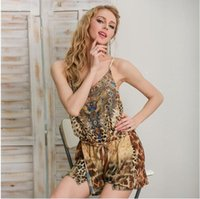 Wholesale Leopard Print Jumpsuits For Women - Leopard print brown jumpsuits rompers for women Summer beach bohemian sexy sleeveless overalls 2017 new Backless strap chiffon playsuit