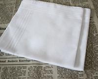 Wholesale Satin Table Cloths White - New 100% cotton male table satin handkerchief towboats square handkerchief whitest 34x34cm hotel restaurant white Cloth napkins