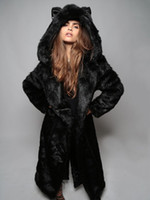 b189a240ef2 Fall winter bear ear hooded faux fur slit back jacket coat outerwear for  women black long maxi artificial mink fur coats hoodies coats warm