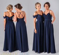 Wholesale Different Style Chiffon Bridesmaid Dresses - Mix Order! 2016 Dark Navy Blue Chiffon Beach Bridesmaid Dresses Straps Different Style Junior Bridesmaids Dresses Wedding Guest Cheap Gowns