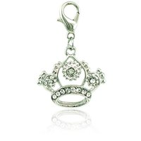 Wholesale Dangle Crown Charms - New Fashion Lobster Clasp Charms Dangle Rhinestone Pierced Imperial Crown Pendants DIY Making Jewelry Accessories Wholesale