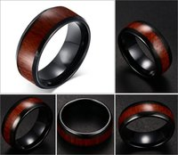 Wholesale Tungsten Wood Inlay Wedding Band - 8mm Men's Tungsten Carbide Red Wood Inlay Black Plat Wedding Band Ring Size Mens Jewelry 7-12