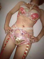 Wholesale Pink Rhinestone Bra - 2017 Fashion Pink Shining Rhinestone Costume Cute Bra Short Outfit Women Sexy Party Crystals Chains Bikini Stage Dance wear