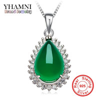 Wholesale Jade Stone Animals - YHAMNI Original Natural Green Gem Malay Stone Pendant 925 Sterling Silver Necklace Fashion Crystal Pendant Necklace jewelry Wholesale XD276