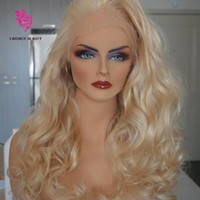 Wholesale Blonde Medium Wavy Wig - Top Quality 613 Full Lace Human Hair Wigs Platinum Blonde Vrigin Peruvian Wavy Blonde Human Hair Wig With Bleached Knots And Baby Hair