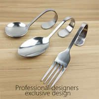 Acier inoxydable Travel Fork And Spoon Bent Fork Spoon Creative Pendentif Spoon Seafood Buffet Dending Cuillères Fourches