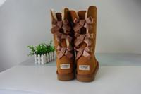 uzun boylu yeni ayakkabılar toptan satış-Noel YENI klasik uzun kış çizmeler gerçek deri Bailey Ilmek kadın bailey yay kar botları ayakkabı çizme US5-10