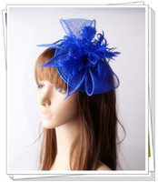 Wholesale Sinamay Cocktail Hat - Free shipping Classical color sinamay fascinator headwear feather flower party show hair accessorises millinery cocktail hats 6pcs lot L128