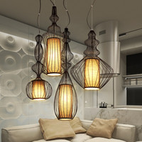 Wholesale Big Bird Cages - LED Big Nobles Modern Pendant Lamps White Black Bird Cage Hanging Pendant Lights Fixture European American Home Indoor Lighting Droplight