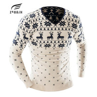 Wholesale Men S Sweater Deer - Wholesale- 2017 New Arrival Sweaters Stylish Deer Animal Print Knitted Long Sleeve Sweater Men Sweater Male Sweaters Pullover AIGUKENT