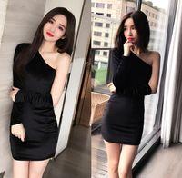 Wholesale Dress Long Asymmetric One Shoulder - New sexy women's party club mini dress single shoulder asymmetric velvet long sleeve bodycon short dress vestidos