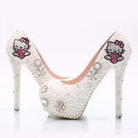 Wholesale Princess Diamond Platform Shoes - Fashion white pearl bride shoes diamond brace KT cat high heels wedding shoes platform round toe princess pump shoes